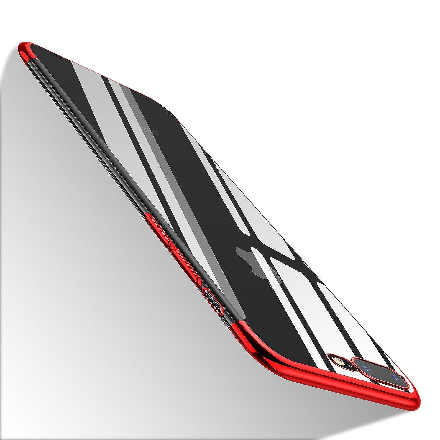 iPhone 8 Plus Clear Case,iPhone 7 Plus Clear Case, WLKSAM Clear Slim Premium Hybrid TPU Anti-Scratch Bumper Cover for Apple iPhone 8 Plus / 7 Plus, Red