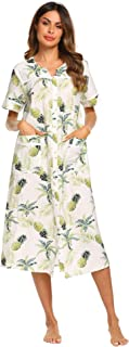 Womens Sleepwear Snap-Front Duster/Casual Nights/Short Sleeve Duster/Housecoat/House Dress Long Nightgown S-XXL