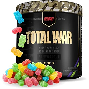Redcon1 Total War - Pre Workout Powder, 30 Servings, (Sour Gummy) Boost Energy, Increase Endurance and Focus, Beta-Alanine, 350mg Caffeine, Citrulline Malate, Nitric Oxide Booster - Keto Friendly