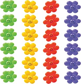 Kicko Smile Face Flower Rings - Pack of 24-1.25 Inches Assorted Colors - for Kids, Party Favors, Bag Stuffers, Fun, Toy, Prize, Pinata Fillers