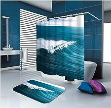 AMDXD Bathroom Set Curtain Mats Accessories Wave Blue Shower Curtains Decorative Non Slip Bath Mat 165x200CM