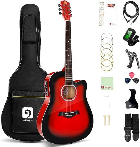 Vangoa Guitare Électro-acoustique 4/4 avec Égaliseur 4 Bandes 41 Pouces Coupe Guitare Acoustique Électrique avec Kits...