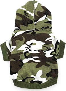 smalllee_Lucky_Store Army Green Hoodie Hooded Christmas T Tee Shirt Small Dog Clothes Costume