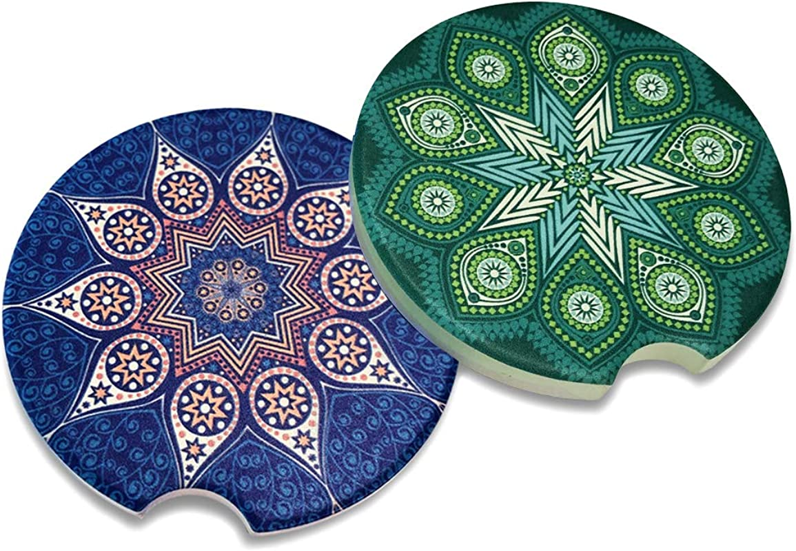 Car Coasters Cup Holder Coasters Absorbent Stoneware Auto Accessories Ceramic Absorb Stone For Drinks 2 Pack Bohemian1