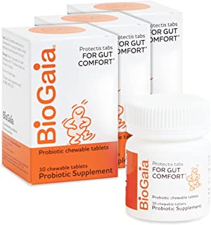 BioGaia Protectis Chewable Tablets for Toddlers, Kids, and Teens Occasional Stomach Pain, Constipation, Diarrhea, and Regu...