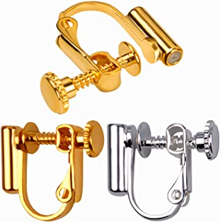 BronaGrand 12 Pieces Clip-on Earring Findings Components Screw Back Ear Wire Non Pierced Earring Converter with Post for Jewelry Making
