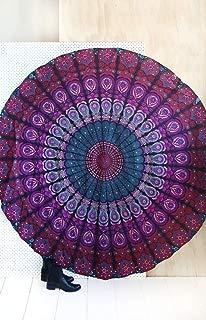 "Jaipur Handloom Round Beach Tapestry Hippie/Boho Mandala Beach Blanket/Indian Cotton Throw Bohemian Round Table Cloth Mandala Decor/Yoga Mat Meditation Picnic Rugs Circle (Purple Pink, Roundie 70"")"