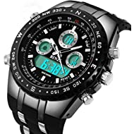 BINZI Big Face Sports Watch for Men, Waterproof Military Wrist Digital Watches in Silicone Band