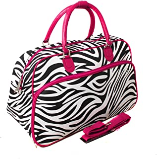21-Inch Carry-On Shoulder Tote Duffel Bag, Pink Trim Zebra, One Size