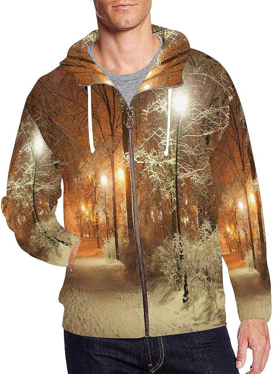 Same day shipping InterestPrint Award-winning store Men's Front Pocket Pullover Full Zip Hoodie Winter