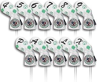 Big Teeth(ビッグティース) ゴルフアイアンカバー ヘッドカバー セット 11枚入り(4〜9、P、A、S、L、X)番号刺繍 ロングネック エラスティック開閉 クローバー刺繍 合成レザー ブラック/ホワイト