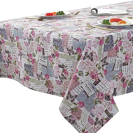 a33906c4c7 ROUSIER®Tovaglia Farfalla Rosa in Cotone E Lino Anti-Macchia Tovaglia per  Tavolo Rettangolare