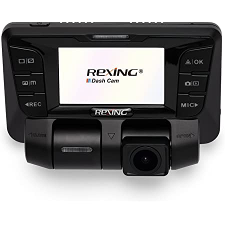 REXING V2 Uber Dash Cam Dual Channel 1080p+1080p Full HD 170+170 Degrees Wide Angle, WDR WiFi 2160p Dashboard Camera