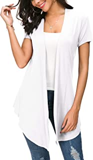Womens Solid Open Front Short Sleeve Cardigan