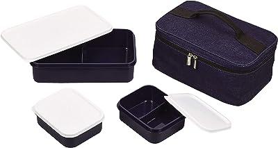 パール金属 弁当箱 デニム 幅27.5×奥行18×高さ12cm(収納時) バッグ付ランチボックスセット ピクジェネ D-6373