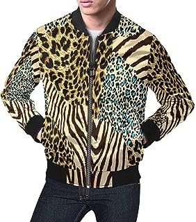 Men's Tiger Prints and Zebra Zip Up Baseball Jacket
