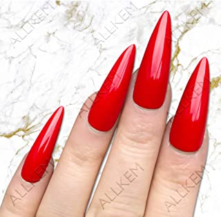 almond nails red