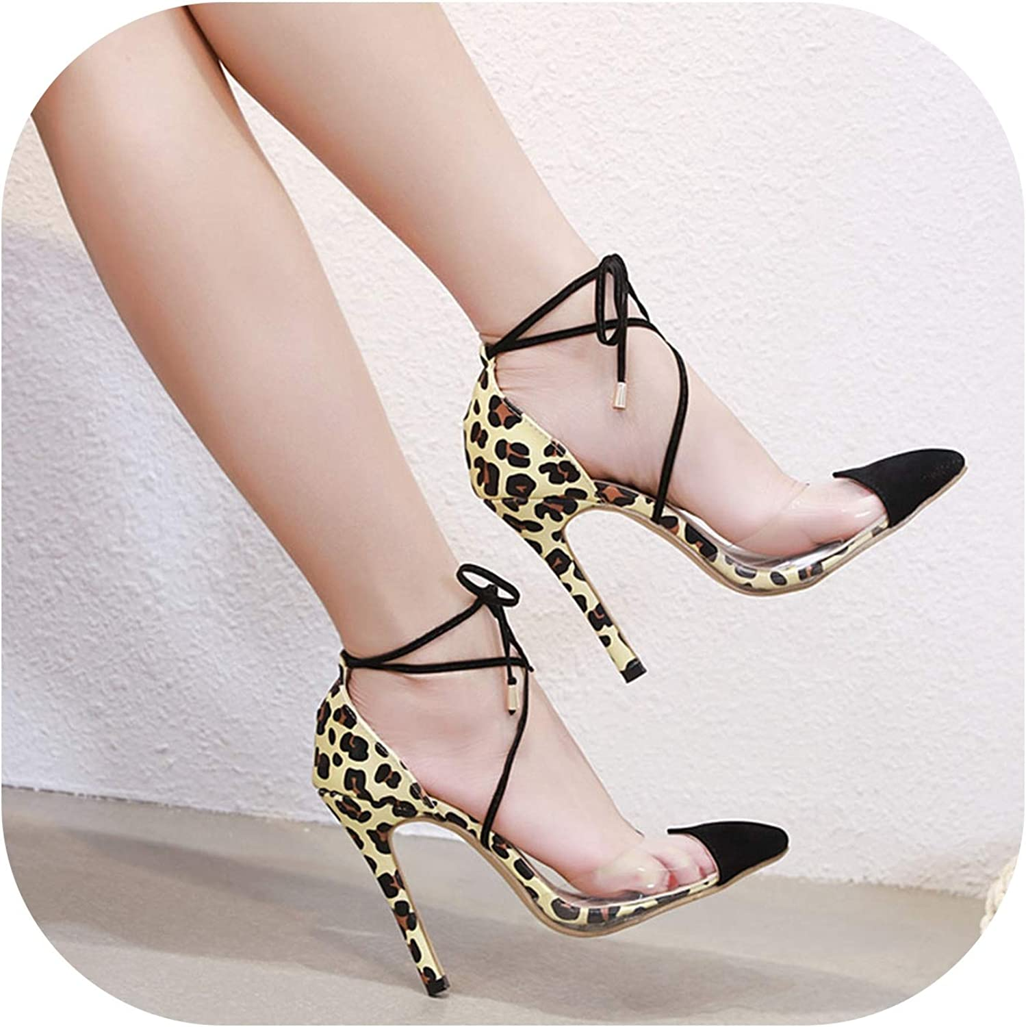 Lace-Up Sandals Pointed High Heels Sexy Women Transparent Thin Heel Sandals