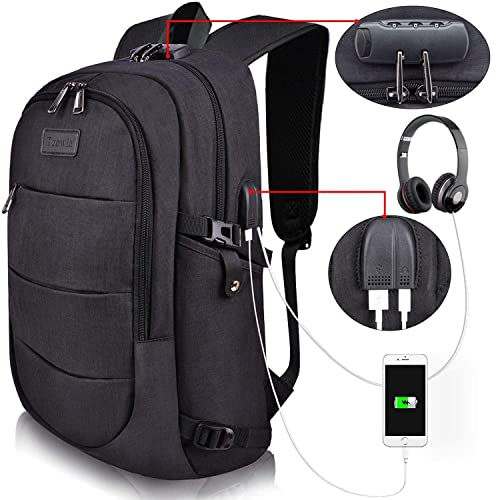 8fbedce2006b Tzowla Business Laptop Backpack Anti-Theft College Backpack with USB  Charging Port and Lock 15.6