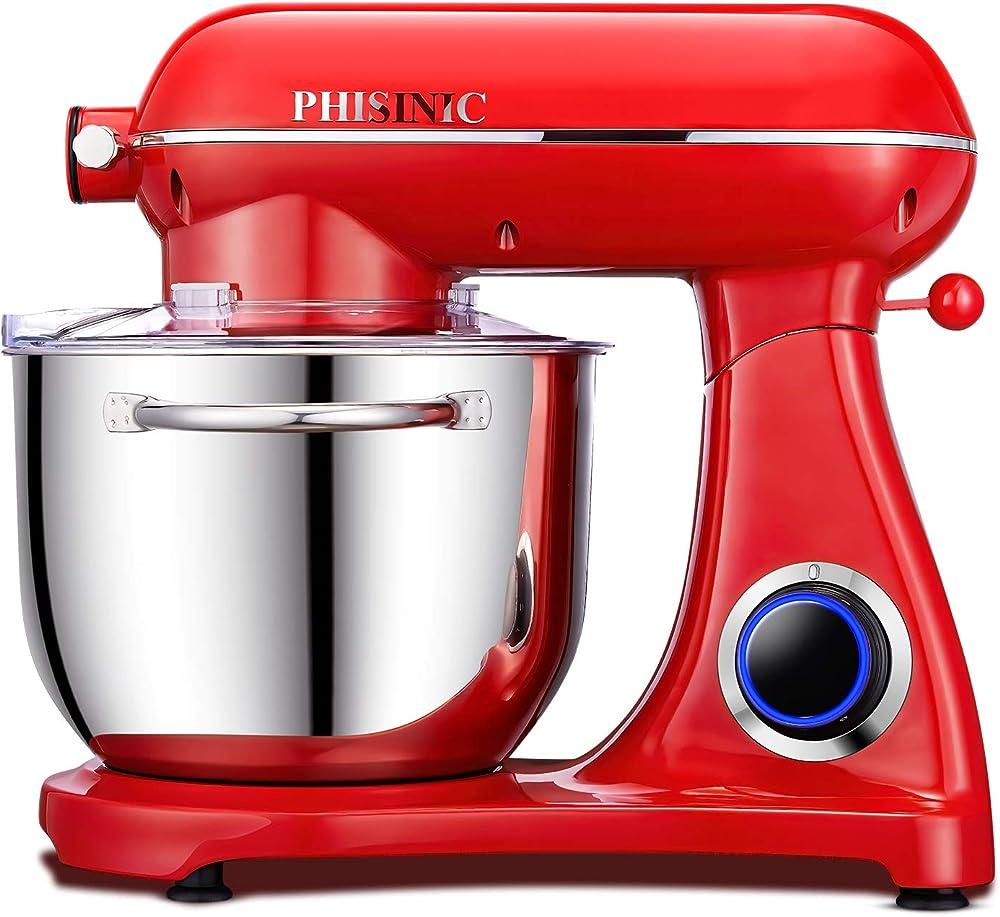 Phisinic,robot da cucina 6.5l,impastatrice planetaria Rosso