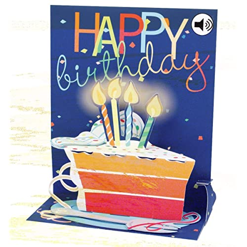 Popshots 3D Pop Up Sound Musical Greeting Card Birthday Big Slice Of Cake