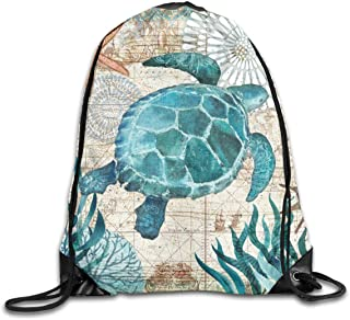 Drawstring Sports Backpack Sea Turtle Ocean Animal Landscape Lightweight Gym Yoga Sackpack Sting Bag Casual Outdoor Daypac...