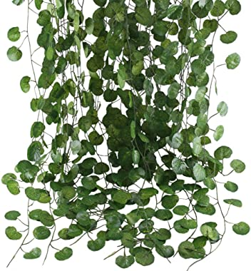 HO2NLE 12 Pack 84 Feet Artificial Fake Hanging Vines Plant Faux Silk Green Leaf Garlands Home Office Garden Outdoor Wall Gree