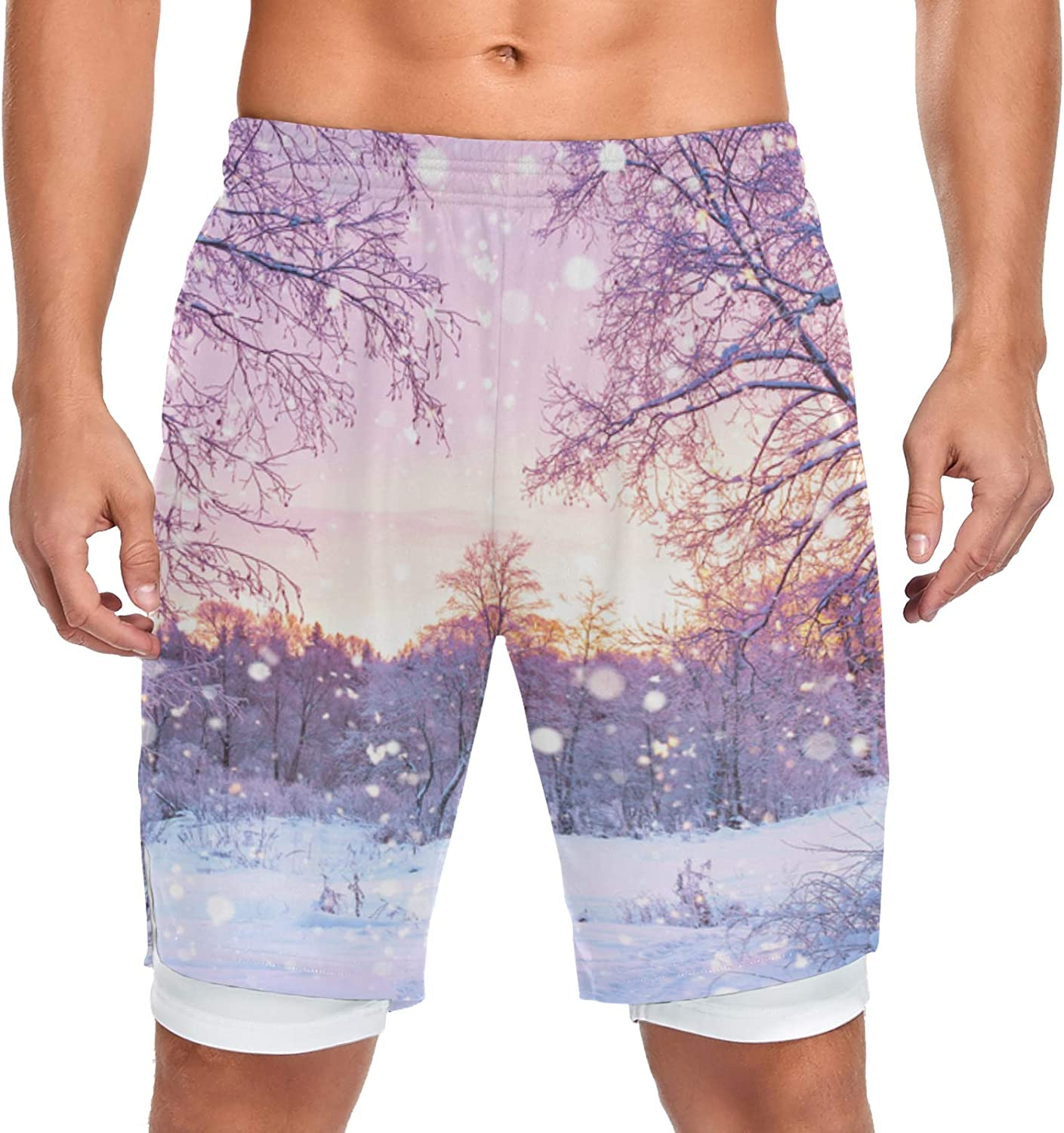 Safety and trust Running Shorts Discount mail order Winter Forest Trees Wo Sport Sunrise Training Men