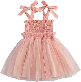 Carolilly Abito Principessa Bambina Neonata Vestito Bambina Estivo Senza Manica in Tulle Tutu Danza Elegante