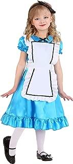 Toddler Wonderful Alice Costume Alice in Wonderland Dress for Girls Blue Satin Dress White Pinafore Hair Bow 2T 4T