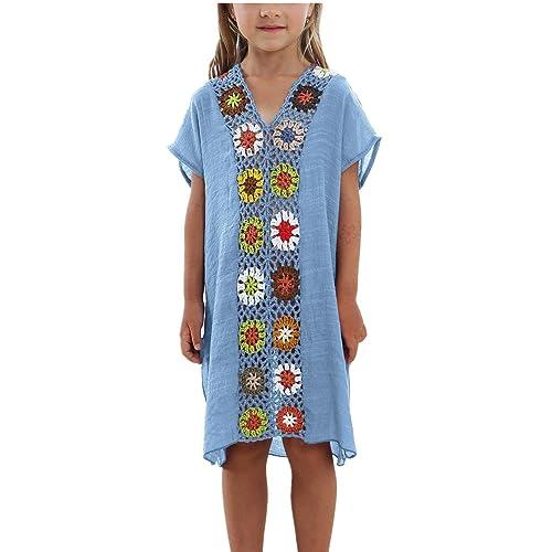c8d36bdcbb8 KIDVOVOU Kids Girls Swimsuit Beach Cover-up Crochet V-Neck Swim Dress