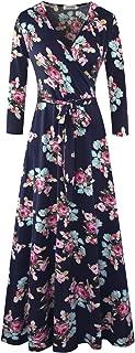Women's Fall Casual Faux Wrap V Neck Floral Long Maxi Dress