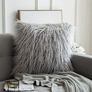 MIULEE Decorative New Luxury Series Style Light Gery Faux Fur Throw Pillow Case Cushion Cover for Sofa Bedroom Car 18 x 18 Inch 45 x 45 cm
