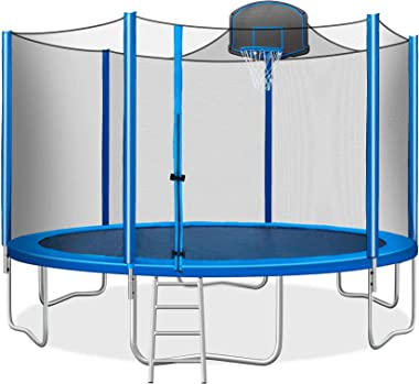 ATY 15FT Trampoline for Kids with Safety Enclosure Net, Basketball Hoop and Ladder, Easy Assembly, Blue