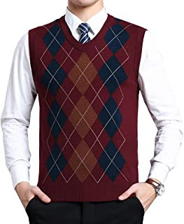MorenMens Classic V-Neck Vest Sleeveless Jumper Knitted Gilet Knitwear Sweater Tank Tops Knitted Waistcoat Slipover Plaid ...