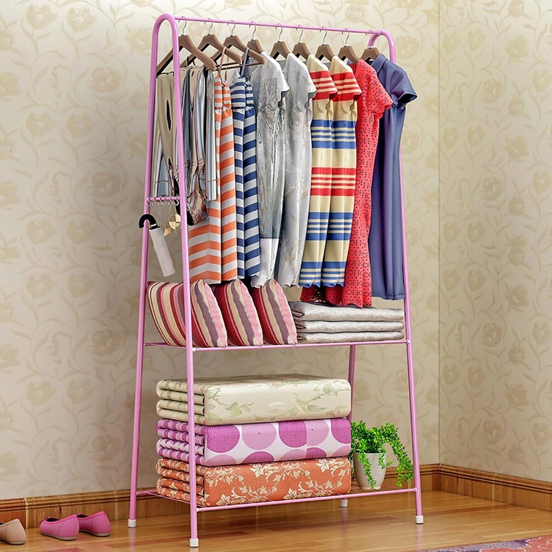 GWDJ Coat Rack Floorstanding Metal Creative Coat Rack Bedroom Simple Modern Clothes Hanger (3 colors Available) Coat Rack Shelf (color   Pink)