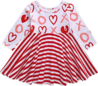 ZOELNIC Toddler Baby Girls Valentine's Day Dress Stripe Heart Print Princess Dress Sundress Outfits