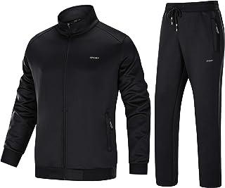 Bnokifin Men's Tracksuit Set Gym Jogging Bottoms Trouser Tops Full Zip Jacket with Pocket