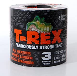 T-REX Ferociously Strong Tape, Dark Gunmetal Gray, 1.88 Inches x 35 Yards, 3-PACK (105 Yards)