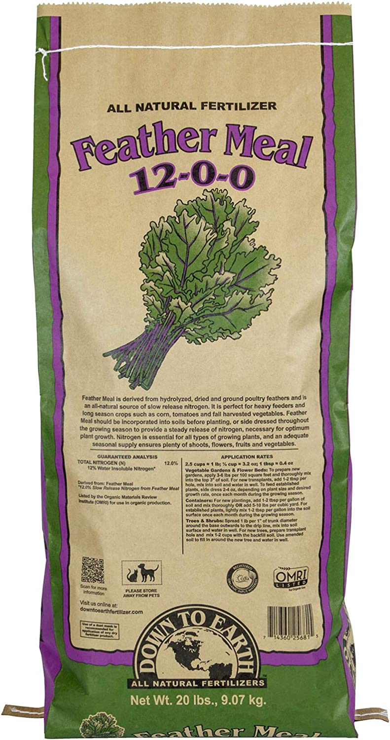 Down To Earth Organic Feather Meal Fertilizer lb 12-0-0 Mix 20 Cash special Beauty products price