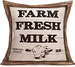 Smilyard Rustic FarmhouseQuote Pillow Covers Vintage Wood Decorative Cotton Linen Throw Pillow Case Cushion Cover with Words 18x18 Inch, Farm Fresh Milk(Farm 19)
