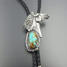 Unique handcrafted sterling silver and 14K gold 3D design wild horse bolo tie