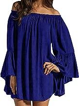 ZANZEA Women's Sexy Off Shoulder Chiffon Lace Ruffle Sleeve Blouse Mini Dress