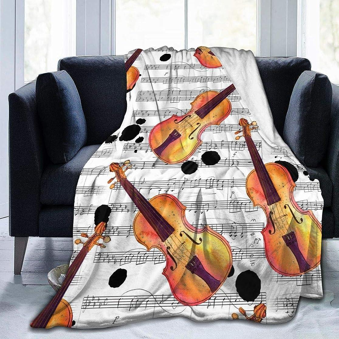 旋回アロングバインドバイオリン 音楽 毛布 掛け毛布 ブランケット シングル 暖かい柔らかい ふわふわ フランネル 毛布 三つのサイズ