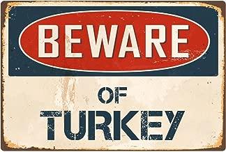 """StickerPirate Beware of Turkey 8"""" x 12"""" Vintage Aluminum Retro Metal Sign VS422"""