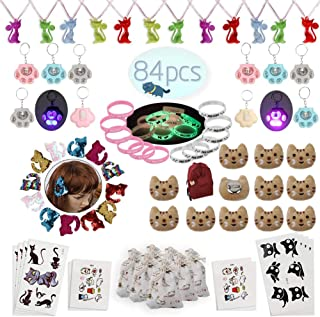Meow Cat Party Favors Supplies-Cat Necklaces,Bracelets,Keychains,Hair Clips,Tattoos,Brooch,Gift Bags Kids Girls Goodie Bag...