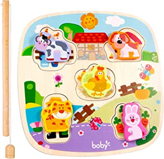 Wooden Preschool Puzzles | Wooden Magnetic Fishing Game Animals Colorful Farm Patter Educational Learning Toys for Toddler Boys Girls Gifts(The Pastoral)