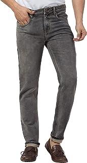 American-Elm Stretchable Brown Slim Fit Black Jeans for Men