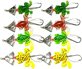JINZFJG-SX 8pcs All Water Fishing Lure Frog Soft Lure 6.2g 9cm Selicone Bait with Spinner Bass Carp Fishing Supplies