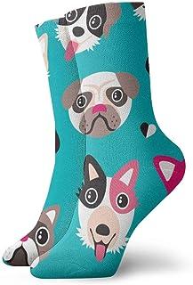 AEMAPE, Pug Dalmatian Husky Calcetines coloridos para hombre con estampado Happy Fun Calcetines de vestir para hombre